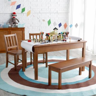 Classic Playtime Rectangle Table and Chair Set   Pecan