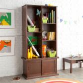 Classic Playtime Hopscotch Espresso Tall Bookcase with Optional Stackable Storage with Sliding Door