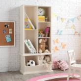  Classic Playtime Hopscotch Vanilla Tall Bookcase with Optional Stackable Storage Bin