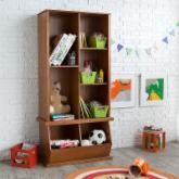  Classic Playtime Hopscotch Pecan Tall Bookcase with Optional Stackable Storage Bin