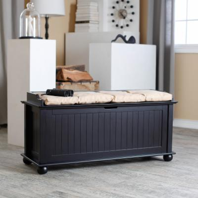 Morgan Traditional Flip-Top Storage Bench - Black