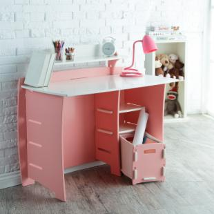 Legare 43 in. Desk with Shelf and File Cart - Pink &amp; White