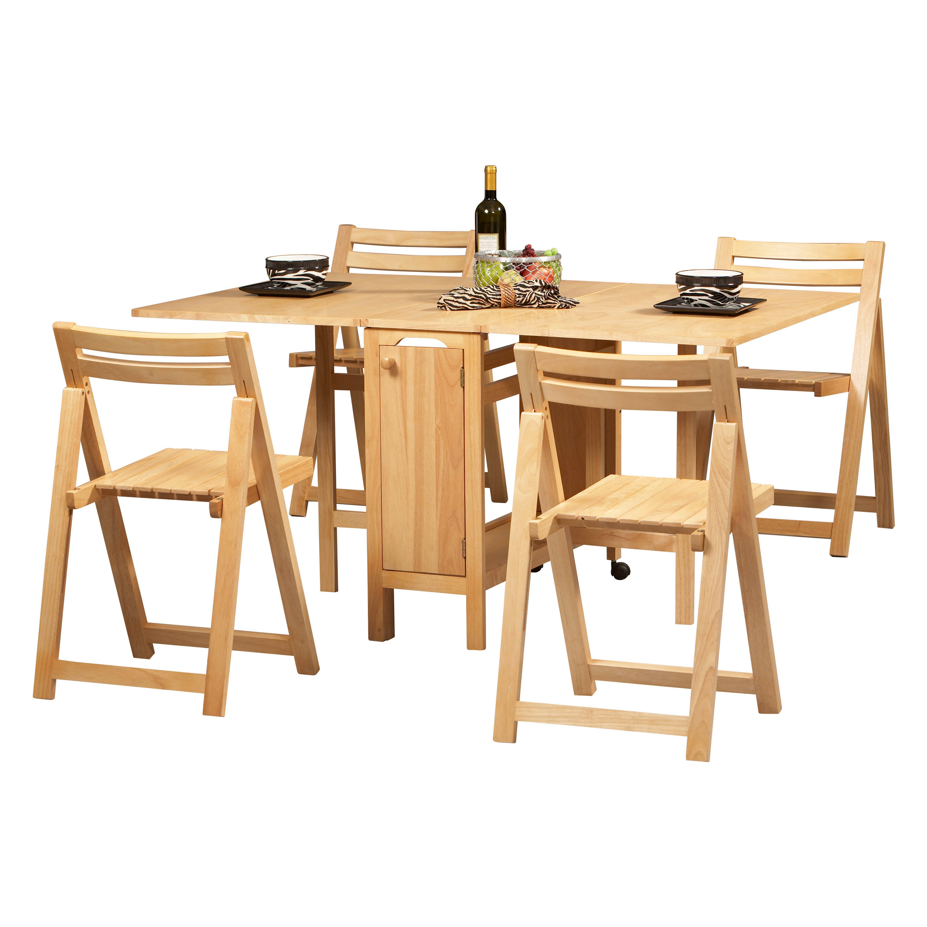 Linon space saver 5 pc folding table and chair set at for Table and chair set
