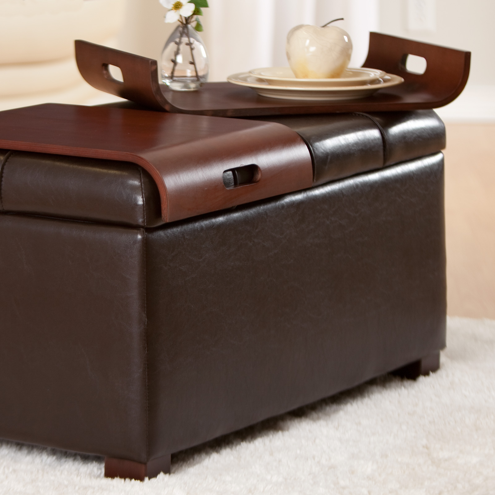 Livingston Storage Ottoman With Tray Table At Hayneedle
