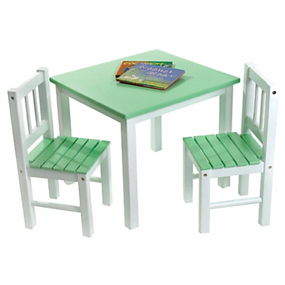 Lipper kids small green white table and chair set ebay for Small chair for kid