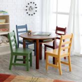  Lipper Childrens Walnut Round Table and 4 Chairs
