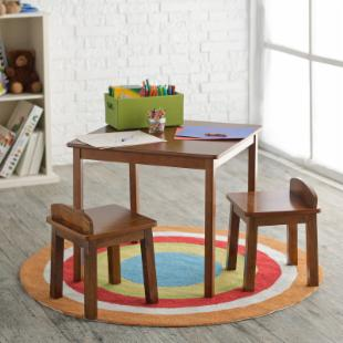 Lipper Childrens All Walnut Table and 2 Stool Set