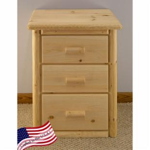 Lakeland Mills Rustic 3 Drawer Nightstand