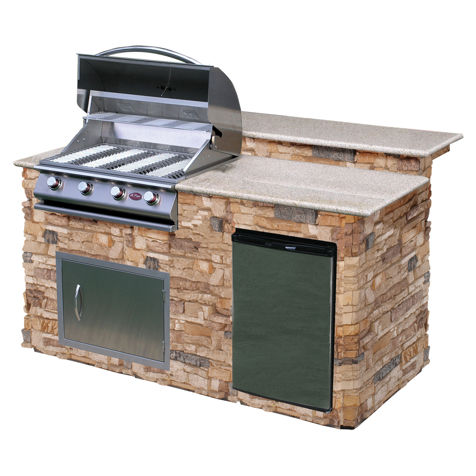 Cal flame 6 ft bbq island with granite top gas grill autumn pro fit stone at hayneedle - Home depot bbq propane ...