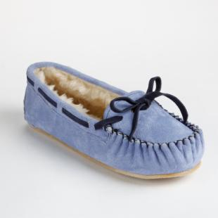 Lamo Womens Britain Moc Slip-on Slippers in Blue