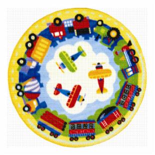 L.A. Rugs Round Trains&#44; Planes &amp; Trucks Kids Area Rug