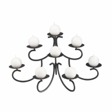 8 Candle Black Fireplace Candelabra