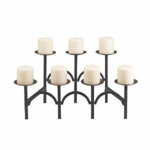 Minuteman International Two-Tier 7-Candle Black Fireplace Candelabra