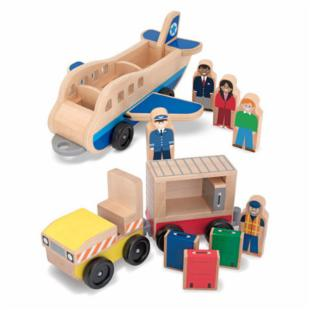 Melissa and Doug Plane and Luggage Carrier Playset