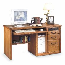  Huntington Oxford Single Pedestal Computer Desk In Wheat by Kathy Ireland