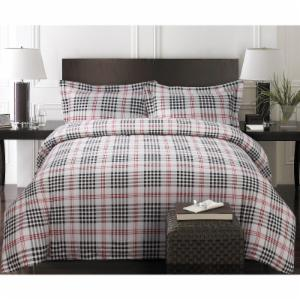 Printed Flannel 3 Piece Plaid Duvet Cover Set by Tribeca Living