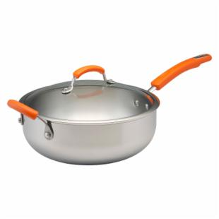 Rachael Ray Stainless Steel II 6 qt. Nonstick Chef Pan with Lid and Helper Handle
