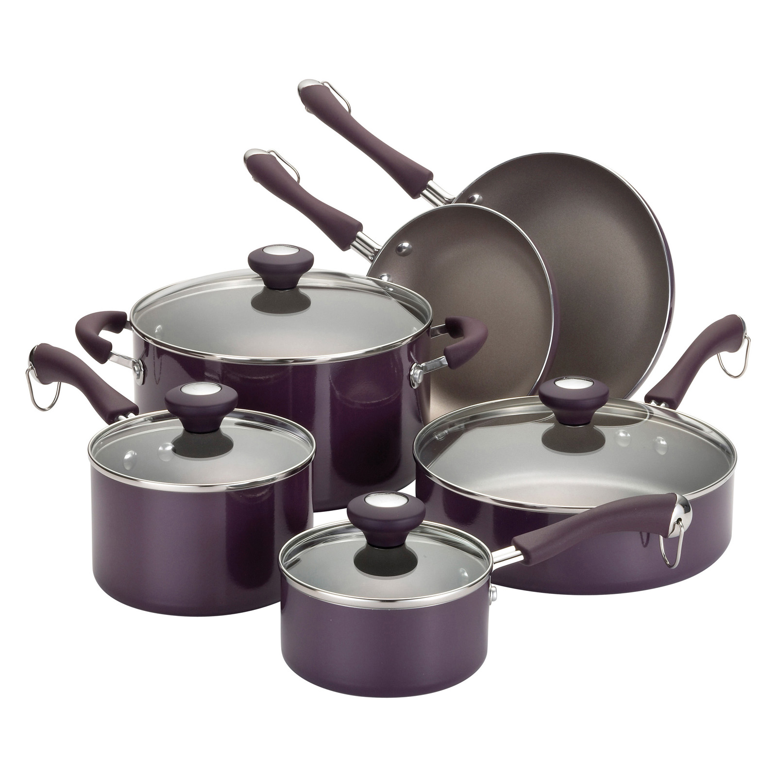 paula deen purple traditional porcelain nonstick 10 piece