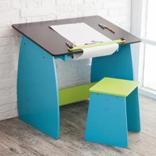 Studio Designs Kid&#39;s Blue and Green Drafting Table with Stool