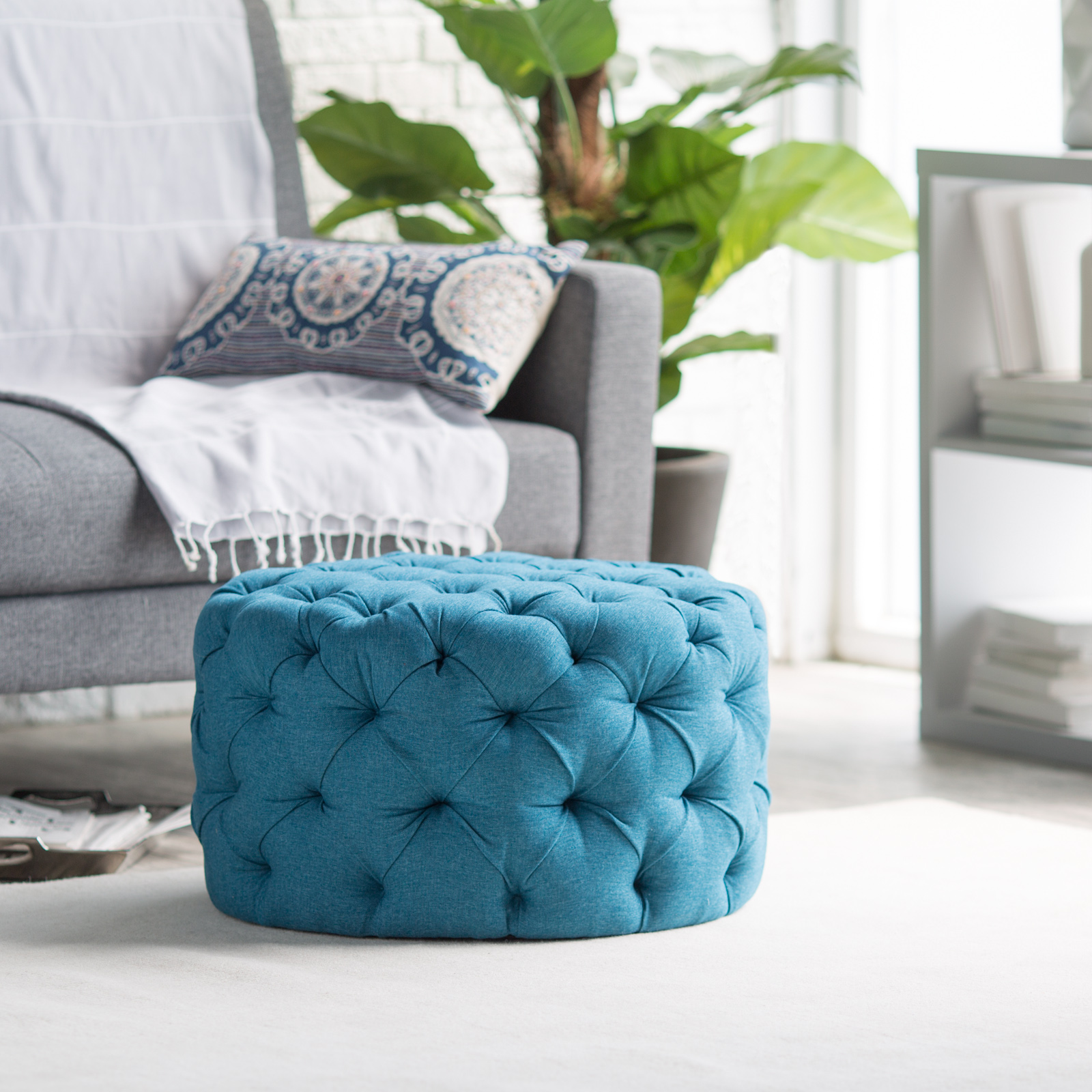 Belham Living Allover Round Tufted Ottoman Teal