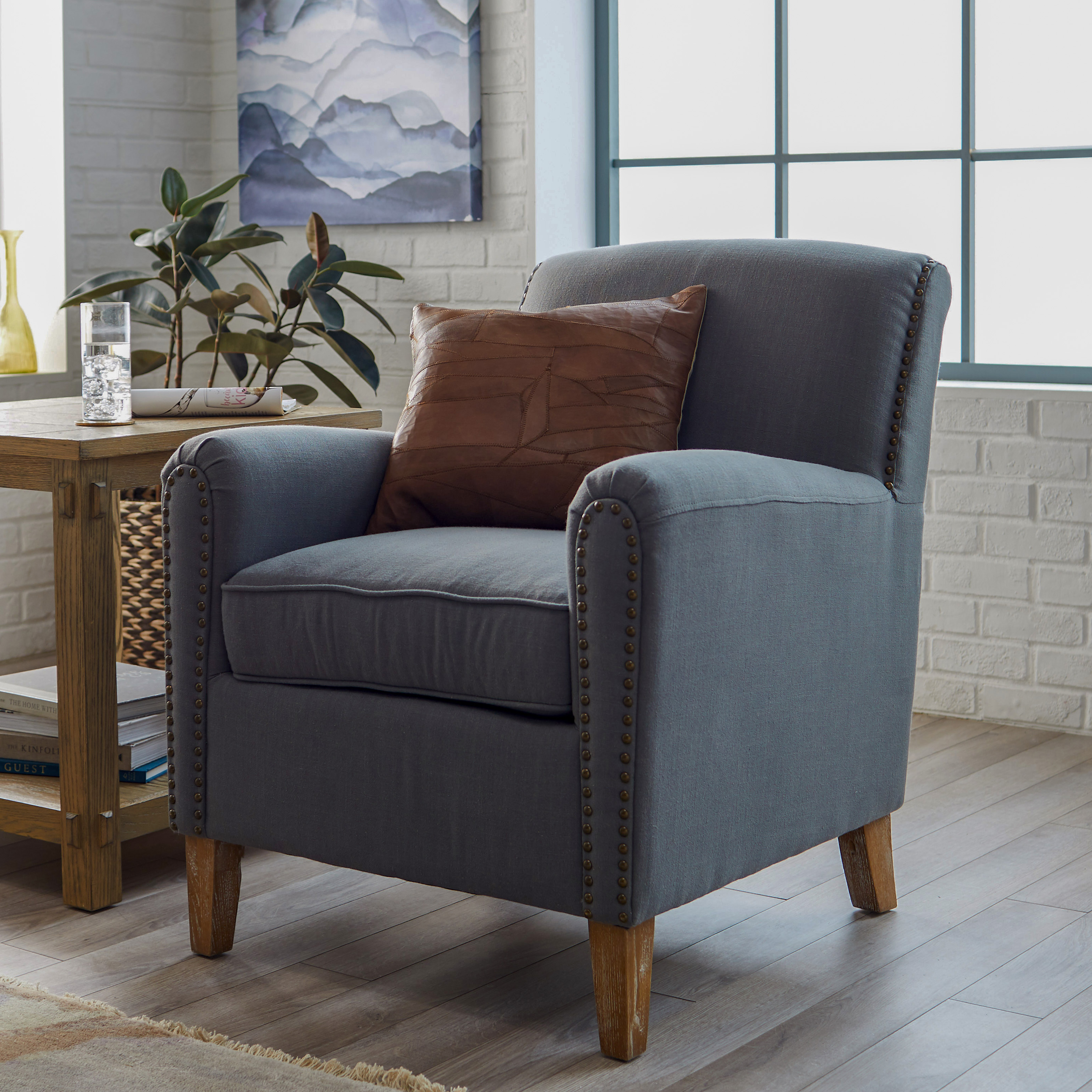 belham living nala arm chair with nailheads on hayneedle. Black Bedroom Furniture Sets. Home Design Ideas