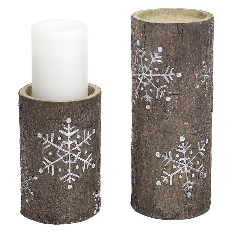 UPC 746427654944 product image for Brown and White Candle Holder with Snowflake Design, Set of Two | upcitemdb.com
