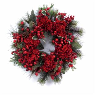 24-in. Hydrangea and Mix Berry Wreath