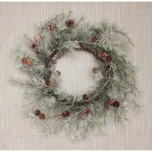 Melrose International 24 in. Frosted Pine and Cone Wreath
