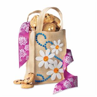 Mrs. Fields Burlap and Blossoms Gift Tote