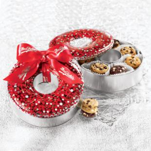 Mrs. Fields Jolly Holly Wreath Tin Gift Set