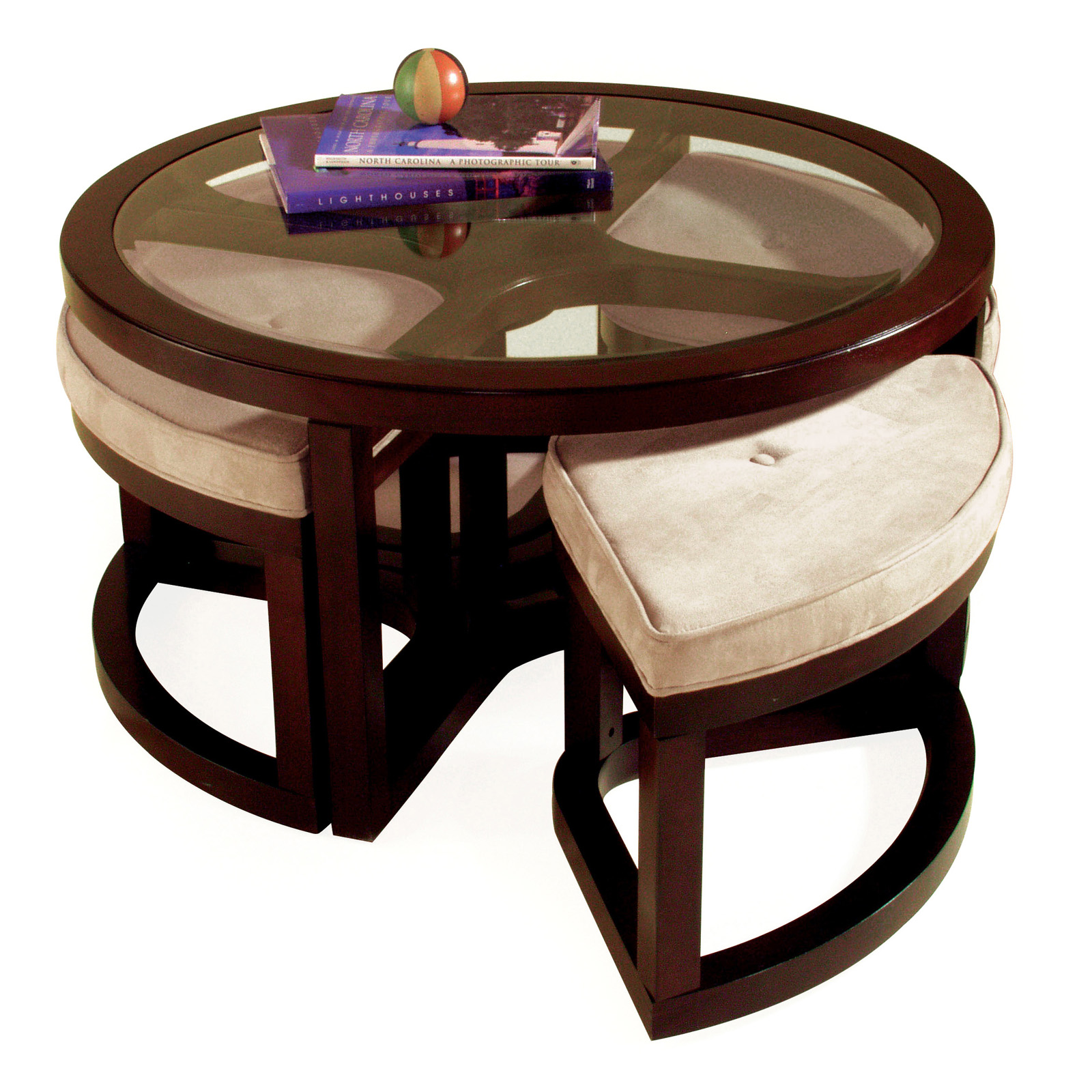 Magnussen T1020 Juniper Wood Round Coffee Table With 4 Stools Coffee Tables At Hayneedle