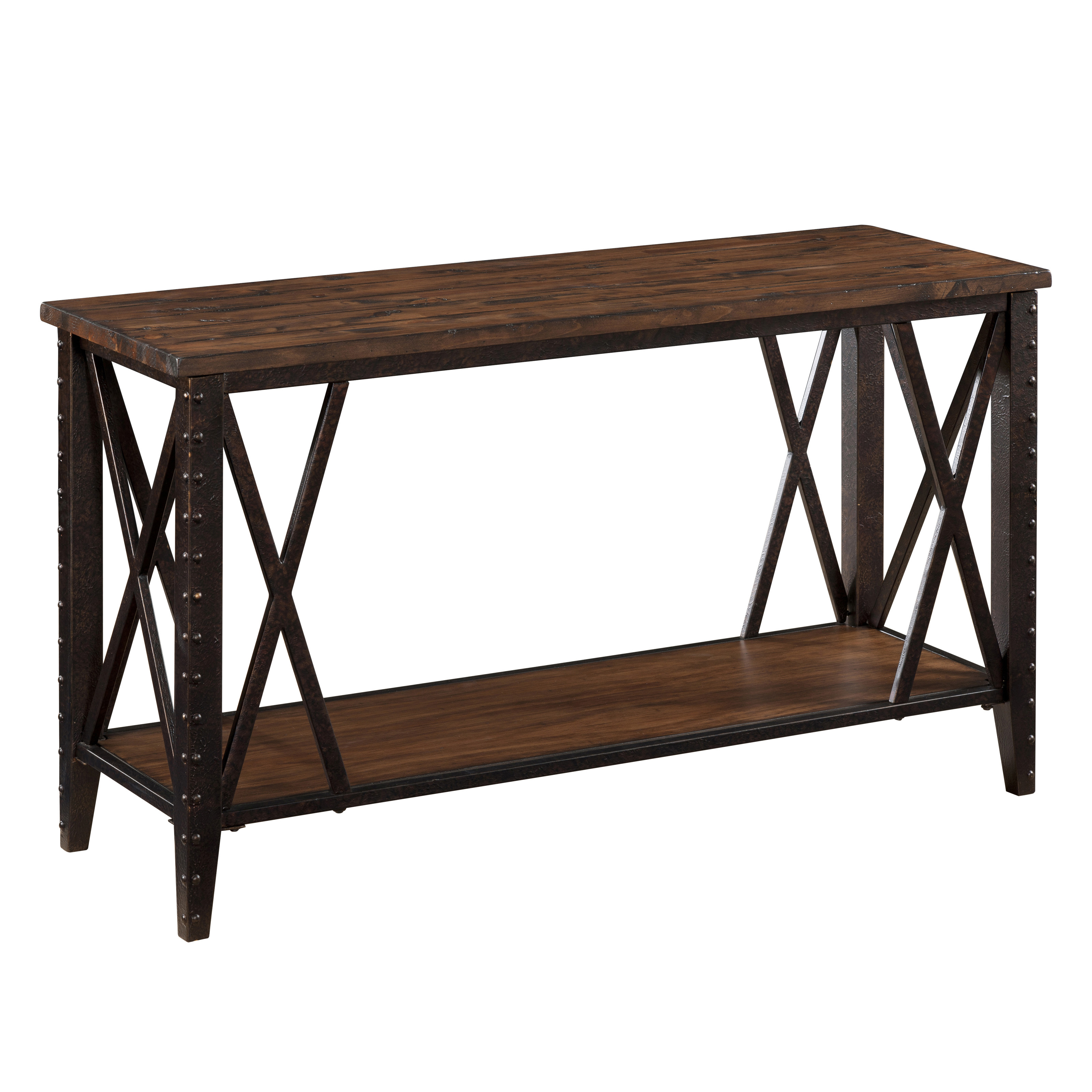 Magnussen fleming wood and metal sofa table rustic pine for Metal and wood console tables