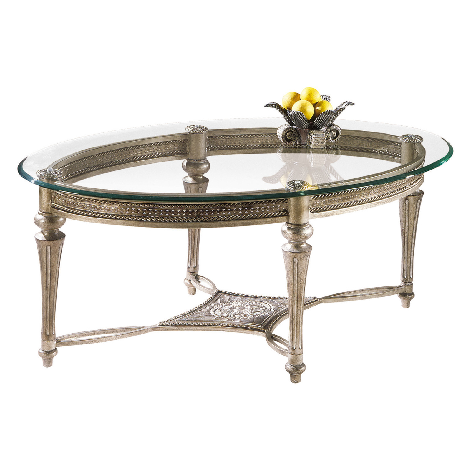 Magnussen galloway oval iron and glass cocktail table for Oval wrought iron coffee table with glass top