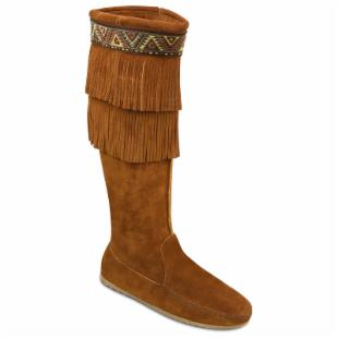 Minnetonka Womens Side-Zip Double Fringe Knee Hi Boots - Brown Suede