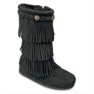 Minnetonka Childrens 3 Layer Fringe Boots - Black Suede