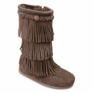 Minnetonka Childrens 3 Layer Fringe Boots - Dusty Brown Suede