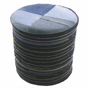 Moe&#39;s Home Collection Denim and Zipper Round Ottoman