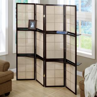 Cappuccino 4-Panel Folding Screen with Display Shelves