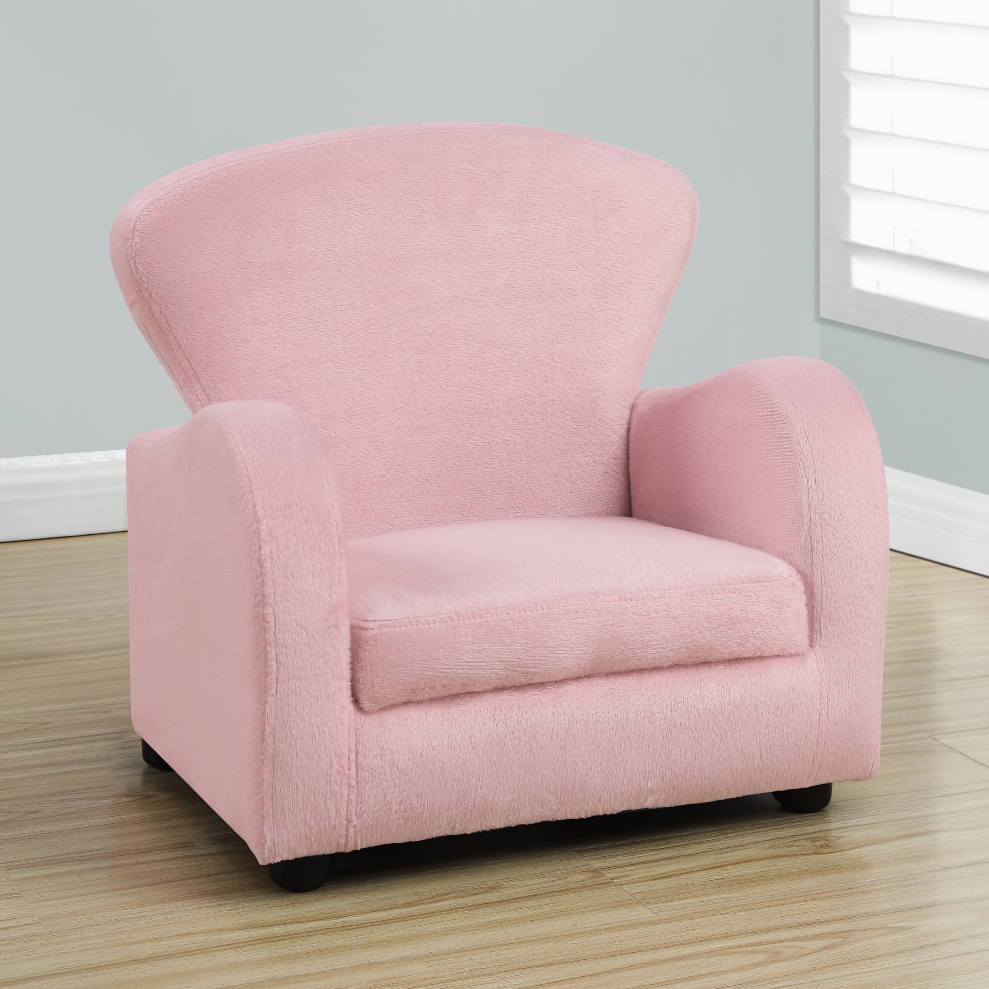 Monarch kids chair fuzzy pink kids upholstered chairs for Kids fluffy chair
