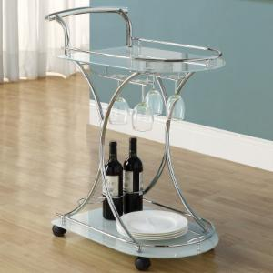 Monarch Contemporary Metal/Glass Mobile Serving Cart
