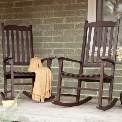 Pair Of Coral Coast Indoor/Outdoor Mission Slat Rocking Chair - Dark Brown