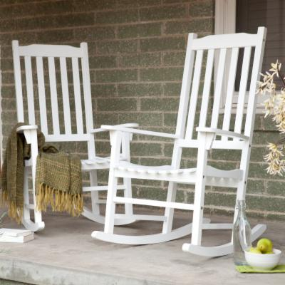 Pair Of Coral Coast Indoor/Outdoor Mission Slat Rocking Chair - White