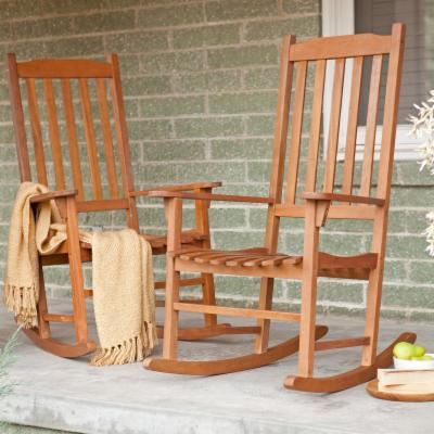 Pair Of Coral Coast Indoor/Outdoor Mission Slat Rocking Chair - Natural