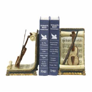 Violin and Music Bookends