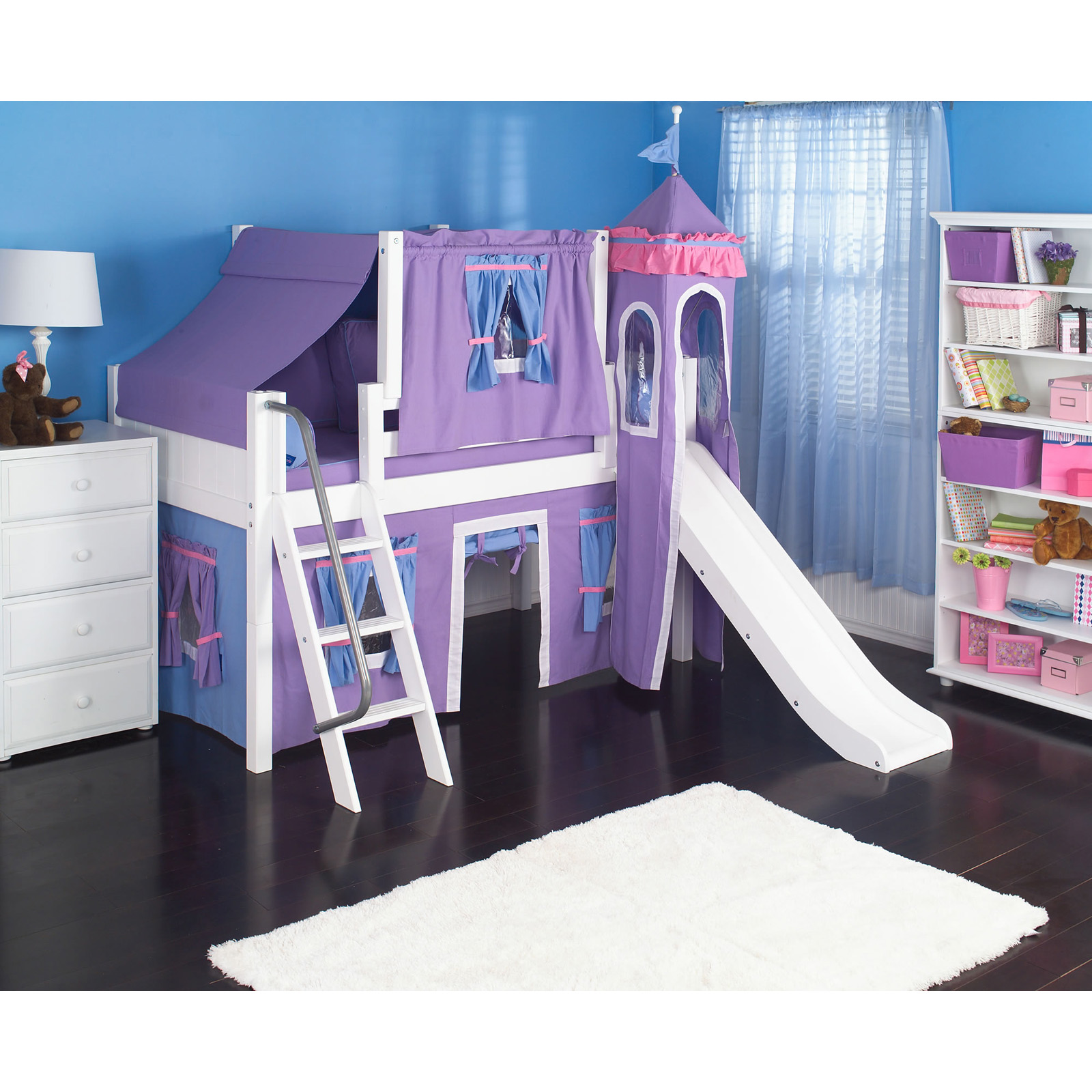 Wow Girl I Deluxe Panel Low Loft Tent Bed With Slide