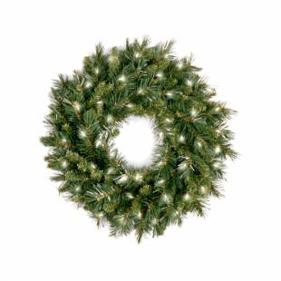 24 in. Tiffany Fir Pre-lit Wreath