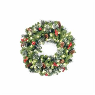 24 in. Crestwood Spruce Red Berry and Glitter Pre-Lit Wreath