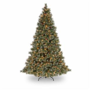 7.5 ft. Glittery Bristle Pine Hinged Pre-Lit Christmas Tree with White Tipped Cones