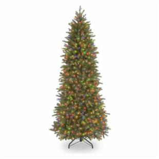 7.5 ft. Feel-Real Jersey Fraser Pencil Slim Fir Hinged Pre-Lit Christmas Tree - Multi-Colored