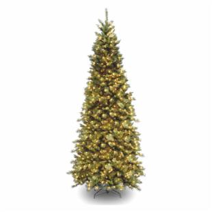 9 ft. Tiffany Slim Fir Hinged Pre-Lit Christmas Tree